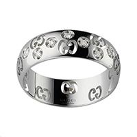 Широкое кольцо Gucci Icon из белого золота с бриллиантами, фото