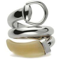Кольцо Gucci из серебра Horsebit white horn, фото