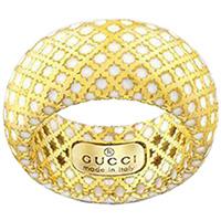 Широкое кольцо Gucci Diamantissima из желтого золота и белой эмали, фото