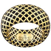 Широкое кольцо Gucci Diamantissima из желтого золота и черной эмали, фото