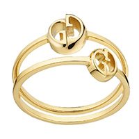 Двойное кольцо Gucci 1973 с логотипом, фото