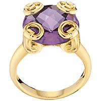 Золотое кольцо Gucci Horsebit с крупным фиолетовым аметистом, фото