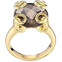 Золотое кольцо Gucci Horsebit с крупным дымчатым кварцом, фото