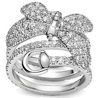 Широкое двойное кольцо Gucci Flora из белого золота с бриллиантами с бабочкой, фото