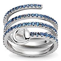Широкое тройное кольцо Gucci Flora из белого золота с синими сапфирами, фото