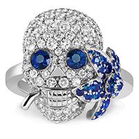 Тонкое кольцо Gucci Flora с черепом с цветком в зубах с бриллиантами и сапфирами, фото