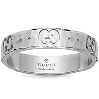 Женское кольцо Gucci Icon из белого золота с отчеканенной поверхностью, фото
