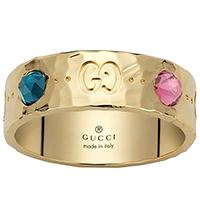 Широкое кольцо Gucci Icon с отчеканенной поверхностью и разноцветными камнями, фото