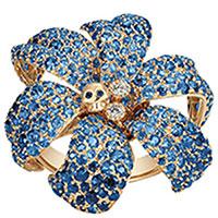 Золотое кольцо Gucci Flora в форме цветка с черепом с сапфирами и бриллиантами, фото