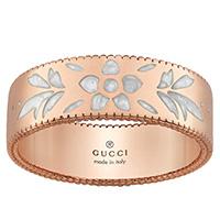 Широкое кольцо Gucci Icon из розового золота с тиснением и узором из эмали, фото