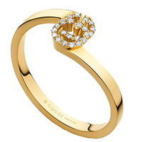 Кольцо из желтого золота Gucci Running G с логотипом в бриллиантах, фото