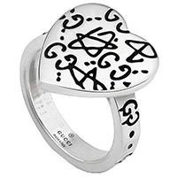 Серебряное кольцо Gucci Ghost в виде сердца с гравировкой, фото