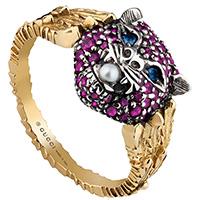 Золотое кольцо Gucci Le Marche des Merveilles с серебряной кошачьей головой и жемчужиной, фото