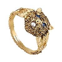 Золотое кольцо Gucci Le Marche des Merveilles с кошачьей головой и жемчужиной, фото
