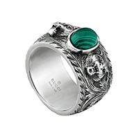 Серебряное кольцо Gucci Garden с кошачьими головами и камнем из зеленой смолы, фото