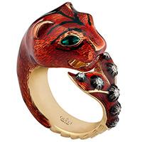 Золотое кольцо Gucci Le Marche des Merveilles с красной кошкой и бриллиантами, фото