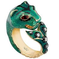 Золотое кольцо Gucci Le Marche des Merveilles в виде кошки с бриллиантами, фото