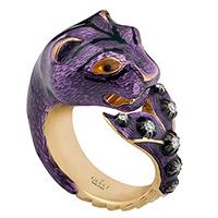 Золотое кольцо Gucci Le Marche des Merveilles в виде кошки с плавником и бриллиантами, фото