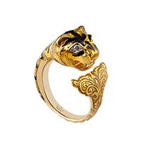 Золотое кольцо Gucci Le Marche des Merveilles в виде кошки с плавником в желтой эмали, фото