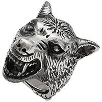 Серебряное кольцо Gucci Anger Forest в виде волчьей головы с гравировкой, фото