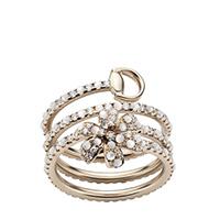 Золотое кольцо Gucci Flora в виде спирали с цветком, бриллиантами и белым перламутром, фото