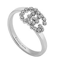 Тонкое кольцо из белого золота Gucci Running G с логотипом в бриллиантах, фото