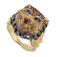 Широкое кольцо Gucci Le Marche des Merveilles в виде кошачьей головы из золота и серебра, фото