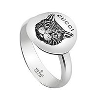 Кольцо Gucci Blind for love с гравировкой кошачьей головы на серебряном диске, фото