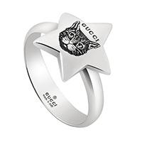 Серебряное кольцо Gucci Blind for love в виде звезды с гравировкой кошачьей головы, фото