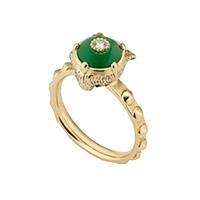 Золотое кольцо Gucci Le Marche des Merveilles с бриллиантами и зеленым нефритом, фото