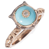 Золотое кольцо Gucci Le Marche des Merveilles с бриллиантами и бирюзой, фото