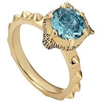 Золотое кольцо Gucci Le Marche des Merveilles с голубым аквамарином, фото