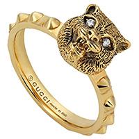 Золотое кольцо Gucci Le Marche des Merveilles в виде кошки с бриллиантовыми глазами, фото