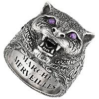 Серебряное кольцо Gucci Garden с кошачьей головой и внутренней гравировкой, фото