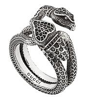 Серебряное кольцо Gucci Garden в виде переплетающихся змей, фото