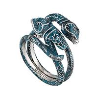 Серебряное кольцо Gucci Garden в виде переплетающихся змей с синей эмалью, фото