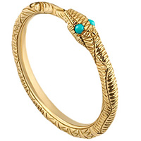 Тонкое золотое кольцо Gucci Ouroboro в виде змеи с бирюзовыми каменными глазами, фото