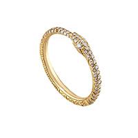 Тонкое кольцо Gucci Ouroboro из желтого золота в виде змеи с бриллиантами, фото