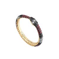 Кольцо Gucci Ouroboro из желтого золота в виде змеи с бриллиантами, топазом и сапфиром, фото