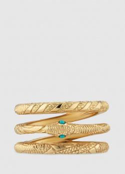 Трехрядное кольцо Gucci Ouroboros в виде змеи, фото