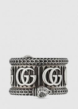 Широкое кольцо Gucci Double G с отделкой в виде змеи, фото