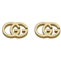 Серьги-гвоздики Gucci Running G из желтого золота в форме двух сплетенных букв G, фото