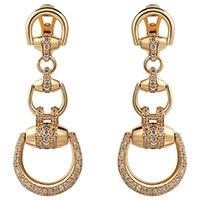 Крупные серьги-подвески Gucci Horsebit из золота с белыми и коричневыми бриллиантами, фото