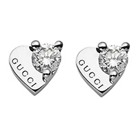 Золотые серьги-сердца Gucci Trademark с гравировкой и крупными бриллиантами, фото