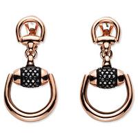 Крупные серьги-подвески Gucci Horsebit из розового золота бриллиантами и корундом, фото
