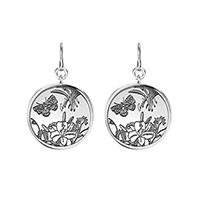 Серебряные круглые серьги Gucci Flora с выгравированным рисунком, фото