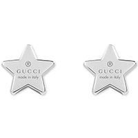 Серебряные серьги Gucci Trademark в форме звезды с гравировкой и застежками-гвоздиками, фото