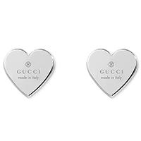 Серьги-гвоздики Gucci Trademark в форме сердец из стерлингового серебра, фото