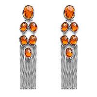 Длинные серьги Gucci Raindrop с крупными оранжевыми камнями, фото