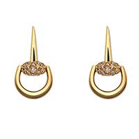 Золотые серьги-подвески Gucci Horsebit с белыми и коричневыми бриллиантами, фото
